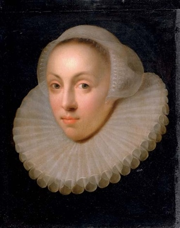 portrait of a lady in a lace collar and headdress by anglo flemish school 18