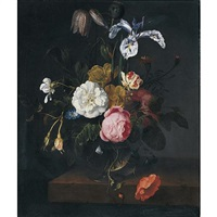 a still life of roses, poppies, ranunculus, fritillaria, geranium, iris and other flowers in a glass vase on a ledge by cornelis kick