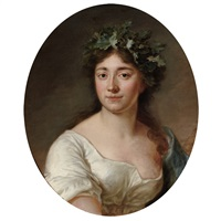 portrait of a lady wearing a wreath by antoine vestier