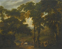 woodland scene with a horseman crossing a stream by george barret