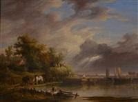 river landscape with barges and figures attending to a horse drawn hay wagon by john hilder