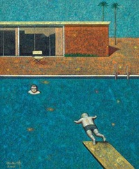 与大师对话 ─ 霍克尼的泳池 (a dialogue with the master - david hockney's swimming pool) by liu hongwei