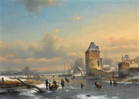 skaters on a frozen waterway by louis smets