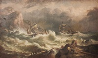 stormy seas with shipwrecks and with figures to cliff to foreground by w. stone