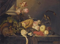 a still life with a lemon, apples, peaches, grapes, a lobster, and a vase of tulips on a table with a squirrel, a bird, and a lizard by jan baptist fornenburgh