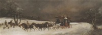 a stagecoach in a winter landscape by philip h. rideout