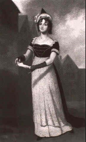 portrait of an actress standing small full length on a stage holding a script by samuel de wilde