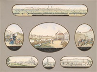 ferdinandsbrücke (+ 6 others, various sizes; 7 works mounted together) by austrian school-vienna (19)
