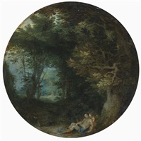 venus and cupid in a wooded landscape by jan brueghel the elder