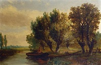 country landscape (+ 3 others; 4 works) by hermanus jan hendrik rijkelijkhuysen
