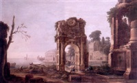 the rest on the flight into egypt amid a capriccio of roman ruins with the arch of titus by alessandro salucci