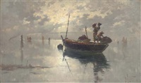 fishermen on the venetian lagoon, dusk by giuseppe vizzotto alberti