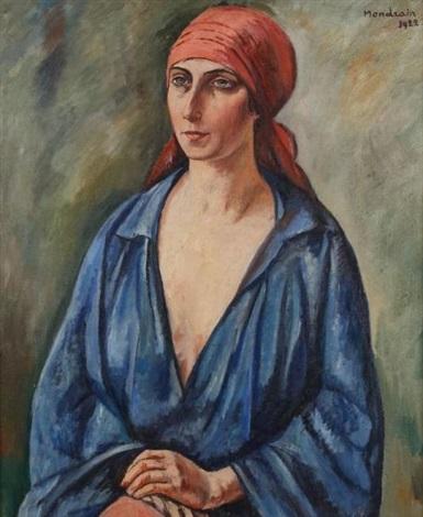 portrait de femme au foulard rouge by simon françois stanislas mondzain