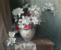 still life azaleas by thomas baddiley