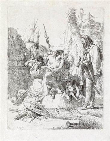 ninfa seminuda con due fanciulli circondata da quattro uomini from scherzi by giovanni battista tiepolo