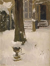 the artist's garden at the koninginnegracht in winter, the hague by isaac israels