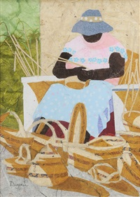 gullah ladies weaving baskets (2 works) by dixie dugan