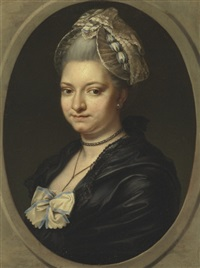portrait of a lady, traditionally identified as pierina gravaghi, bust-length, in a black dress and white lace bonnet by johann christian von mannlich