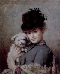 junge frau mit kleinem hund by eugène accard