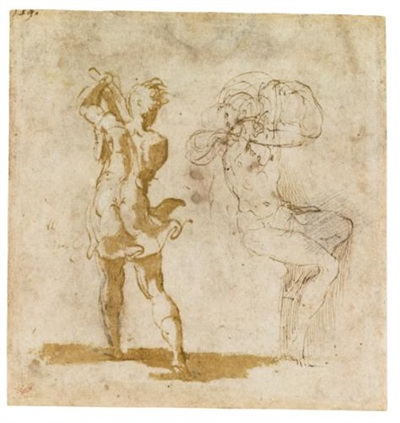 recto studies of an executioner and a seated figure verso a fragment of figure studies after raphael by parmigianino