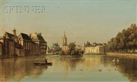 a view of the hofvijver, the hague by johannes joseph destree