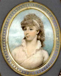 a young lady in white dress with high-frilled collar, white bandeau in her long powdered curling hair by lewis (of bath) vaslet
