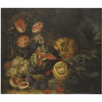 a still life with tulips, carnations, grapes, melons, peaches, cherries and a partly peeled lemon by jan pauwel gillemans the younger