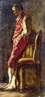 gentiluomo in rosso; un bravo; la donna dalla margherita; uomo d'arme (4 works) by amedeo ghesio volpengo
