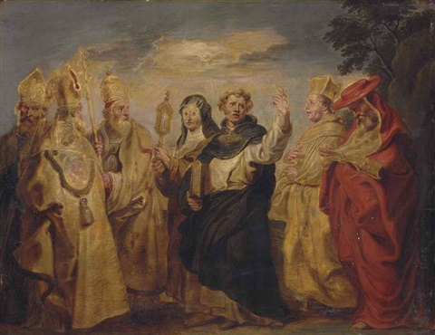 eucharistic teachers and saints gregory ambrose augustine clara thomas aquinas norbert and jerome with the dove of the holy spirit by sir peter paul rubens