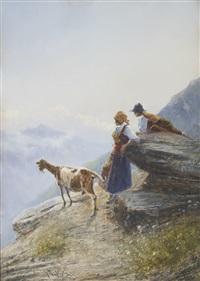 baie, vue d'un balcon et deux gardiens de chèvres contemplant la vallée (2 works) by giovanni battista
