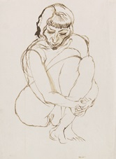 hockender akt by george grosz