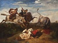 die rettung vor dem wilden stier by adolphe roger
