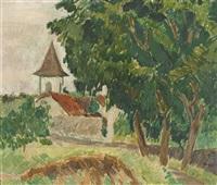 kirchturm in sommerlicher landschaft by hans berger