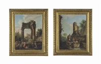 a capriccio with classical ruins and figures resting by a fountain in the foreground; a capriccio with classical ruins and a centurion conversing with two figures, with a dog (2 works) by andrea locatelli