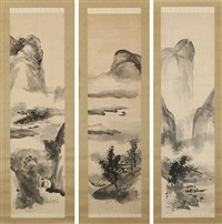 landscape in black ink (3 works) by tani buncho