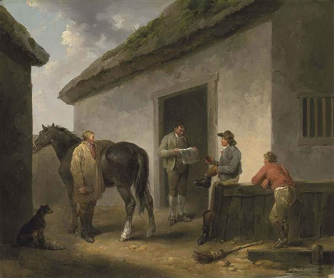 reading the news horse and grooms outside a stable by george morland