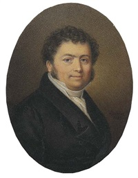 george lesaing in black coat and waistcoat, white shirt and cravat, curling dark hair and sideburns by jean antoine laurent