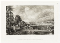 the opening of waterloo bridge (2 works) (after john constable) by david lucas