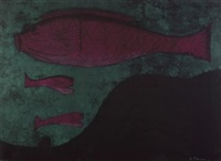 peces (fish) (from rufino tamayo 15 litografias) by rufino tamayo