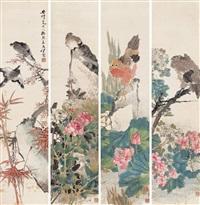 鸟语花香 (四件) 屏轴 设色纸本 (bird and flower) (4 works) by ren xun