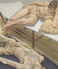 male and female nudes reclining by philip pearlstein
