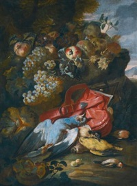still life with a pigeon, a great spotted woodpecker, a goldfinch, and a melon, grapes and other fruit in a landscape by michelangelo di campidoglio