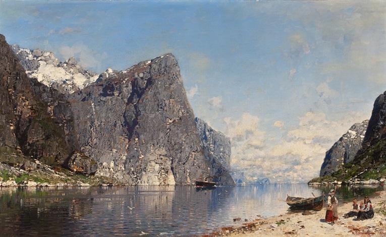 rastende familie am fjord by georg anton rasmussen