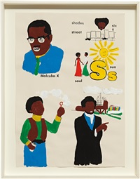 malcolm x, sun, frederick douglass, boy with bubbles #2 by glenn ligon