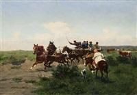 polnische vierspänner mit jägern, im vordergrund eine frau zu pferd by wladislaw karol szerner