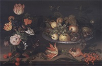 still life with flowers in a vase, a branch of cherries, a wan-li dish full of fruit, red currants, a tulip, a lizard and various insects on a ledge by johannes bosschaert