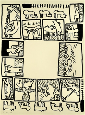 Blueprint drawing by keith haring on artnet blueprint drawing by keith haring malvernweather Image collections