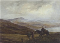a beast coming home, loch tayside by william ellis barrington-browne