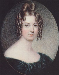a lady, her blonde hair in a high bun and ringlets, wearing décolleté green dress by hannah smith