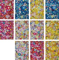 an homage to monopink 1960 d; an homage to ikb 1957 c; an homage to marigold 1960 c; an homage to yves klein... ( 11 works) by takashi murakami